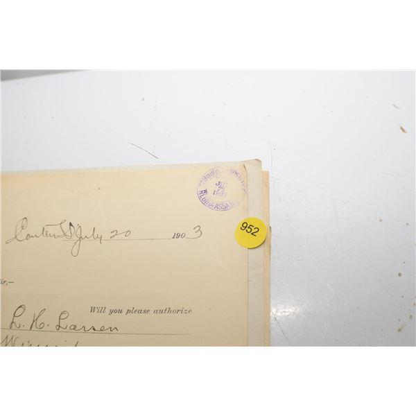 1900's Lnd Title file Regina  N.W.T.