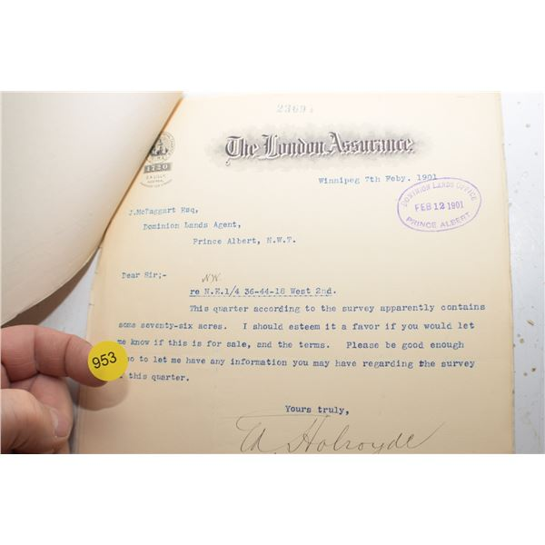 1901 Land Title file Prince Albert, N.W.T.