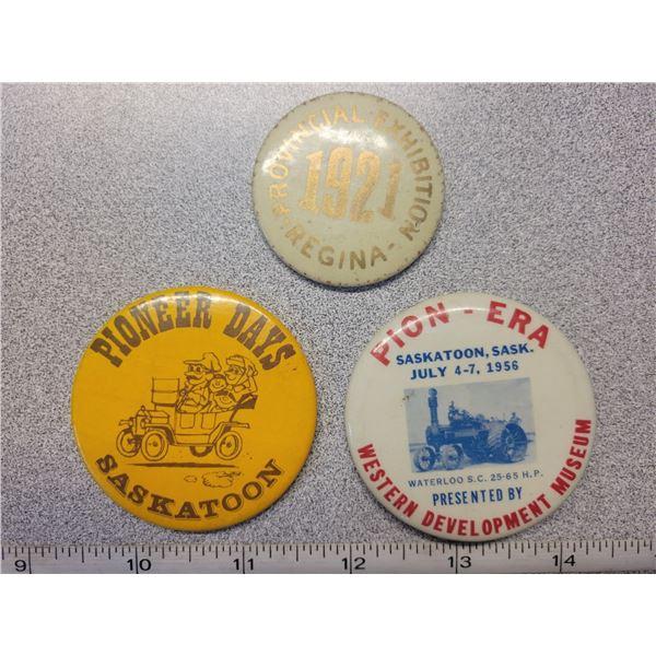 Sask Exhibition pinback 1921 etc