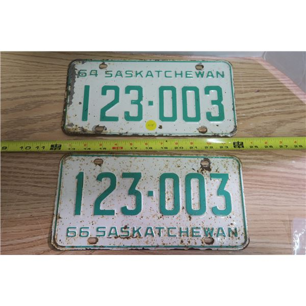 Pair Sask License Plates #123006 For Years 1964 & 1966