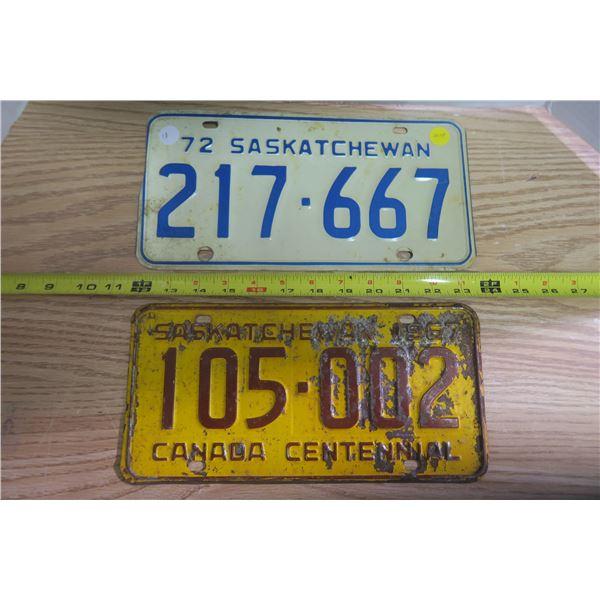 Pair of Sask License Plates #217667 + 705002 - 1967-1972