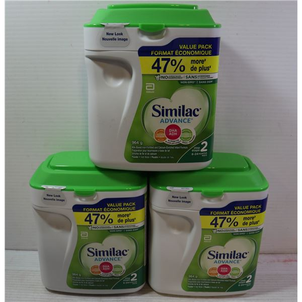 LOT OF 3 SIMILAC ADVANCE STAGE 1 MILK BASED INFANT