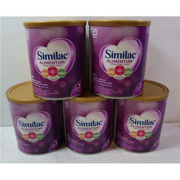 FIVE 400G CONTAINERS OF SIMILAC ALIMENTUM STEP 1