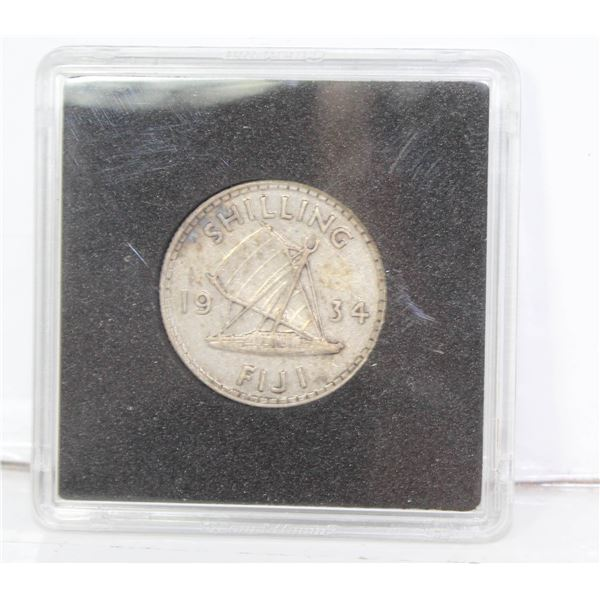 1934 GEORGE V FIJI SILVER 1 SHILLING COIN