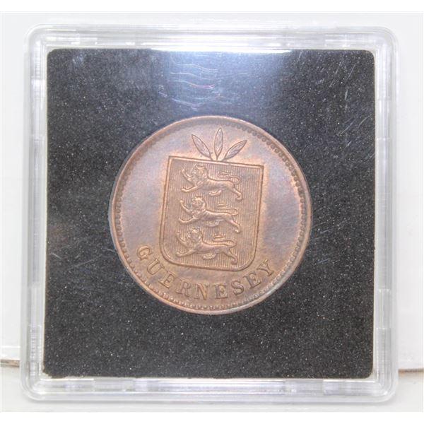 HIGH GRADE GUERNESEY 4 DOUBLES COIN 1902