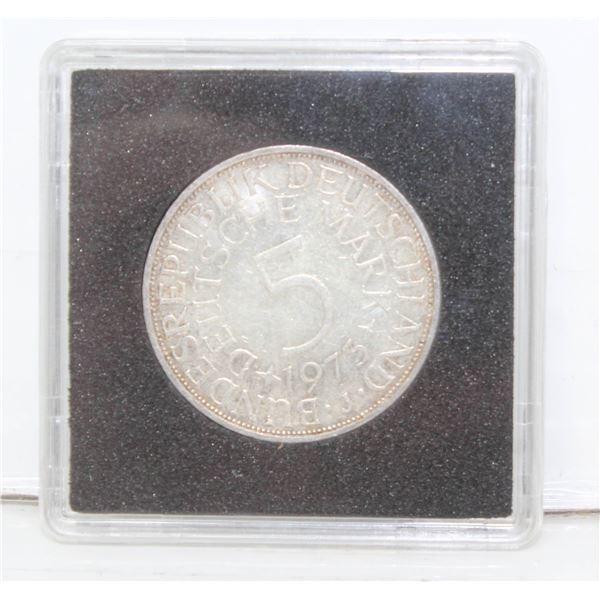 1973J SILVER GERMAN 5 MARK COIN