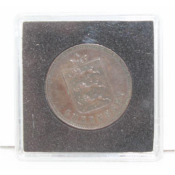 1830 GUERNSEY 4 DOUBLES COPPER COIN