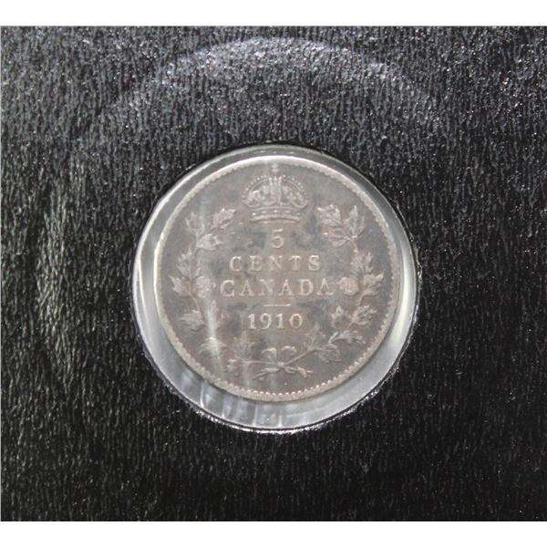 "1910 EDWARD VII CANADA SILVER 5 CENT ""FISHSCALE"""