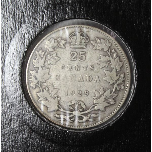 1929 KING GEORGE V SILVER CANADA 25 CENT