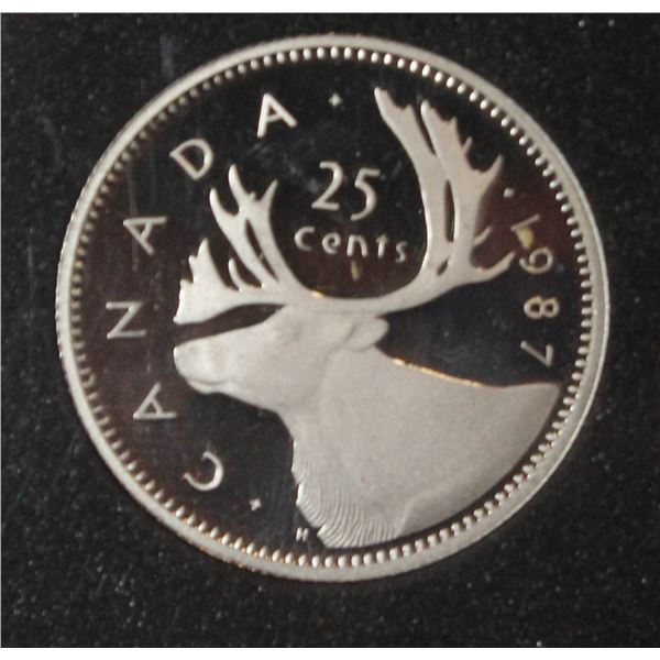 1987 LOW MINTAGE SILVER CANADA 25 CENT