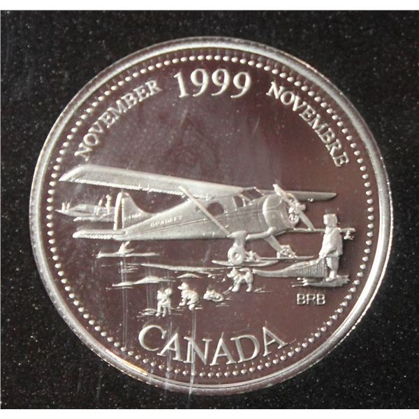 """1999 STERLING SILVER PROOF CANADA 25 CENT """"NOVEMB"""