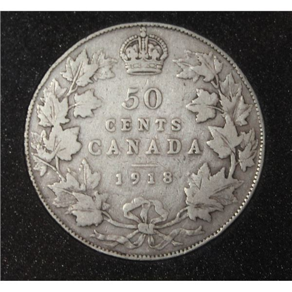1918 GEORGE V CANADA SILVER 50 CENT