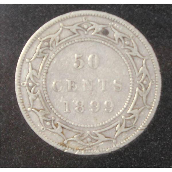 1899 VICTORIAN NEWFOUNDLAND SILVER 50 CENT