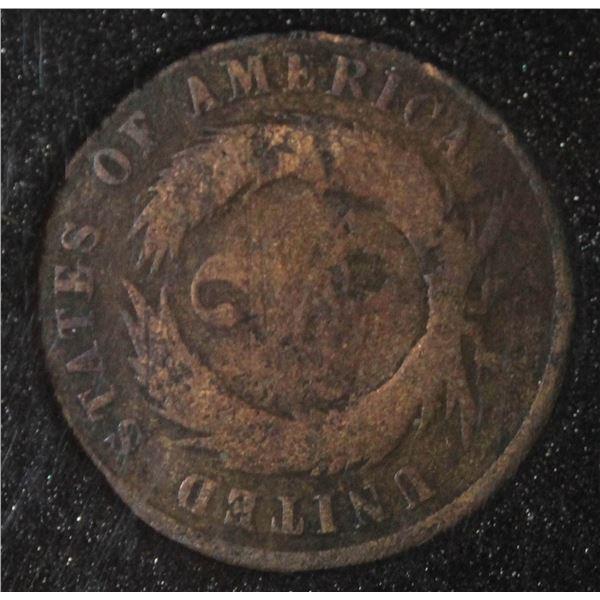 1870 USA SHIELD 2 CENT COIN SCARCE TYPE