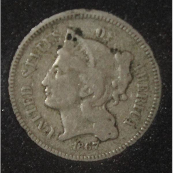 1867 USA LIBERTY HEAD 3 CENT COIN