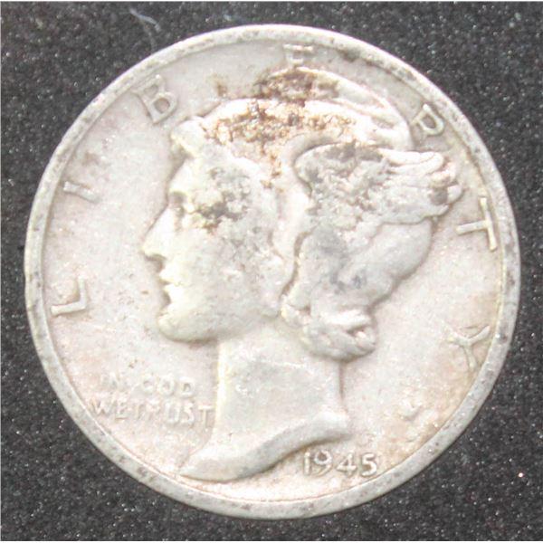 1945 USA SILVER MERCURY HEAD 10 CENT