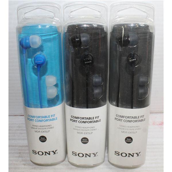 LOT OF THREE SONY COMFORTABLE FIT HEADPHONES.