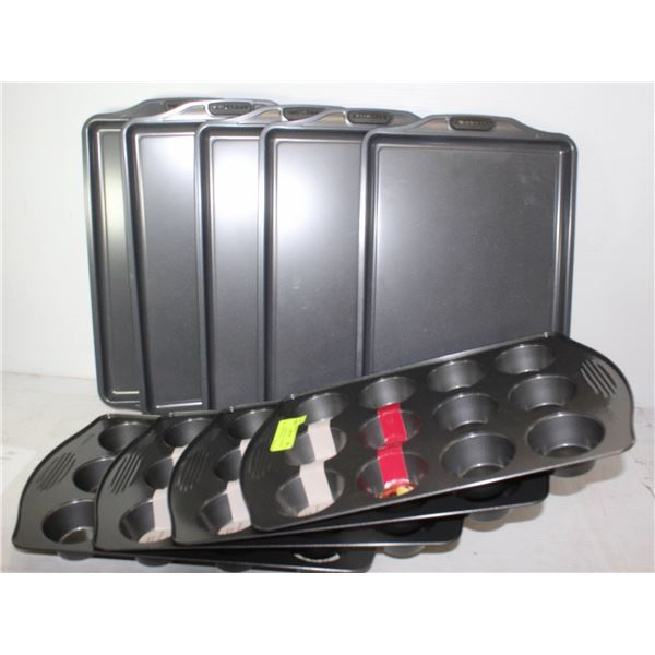 LOT OF 9 ASSORTED NEW BAKING PANS + MUFFIN TINS