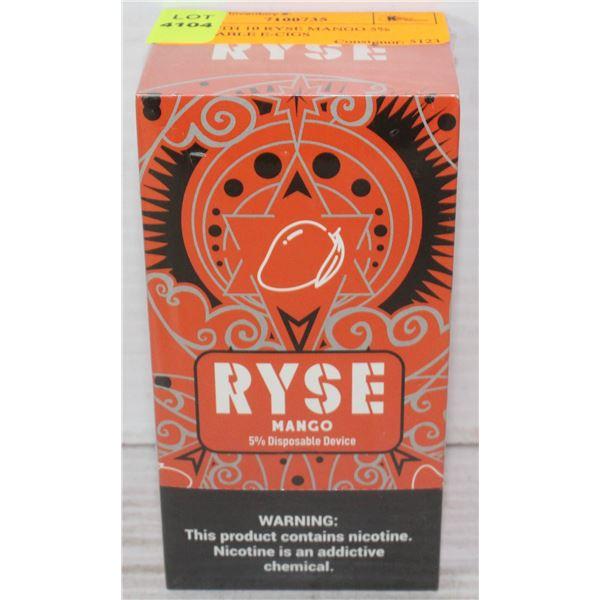 BOX WITH 10 RYSE MANGO 5% DISPOSABLE E-CIGS