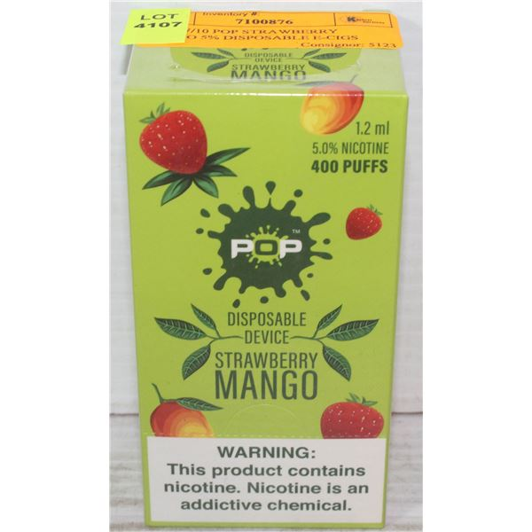 BOX W/10 POP STRAWBERRY MANGO 5% DISPOSABLE E-CIGS