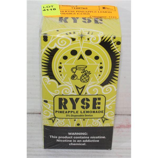 BOX W/10 RYSE PINEAPPLE LEMON 5% DISPOSABLE E-CIGS
