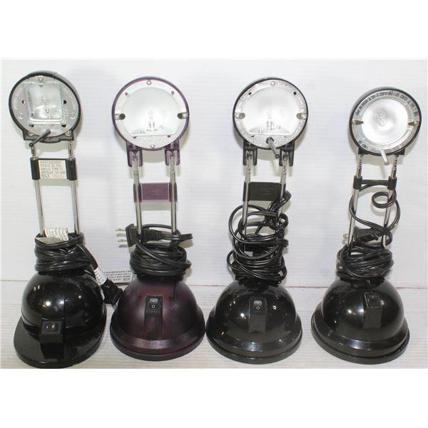 FIVE NIGHT STAND LAMPS - 3 BLACK , 1 PURPLE,