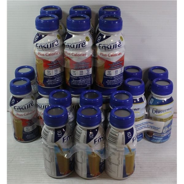 FLAT LOT OF ASSORTED ENSURE PROTEIN DRINKS
