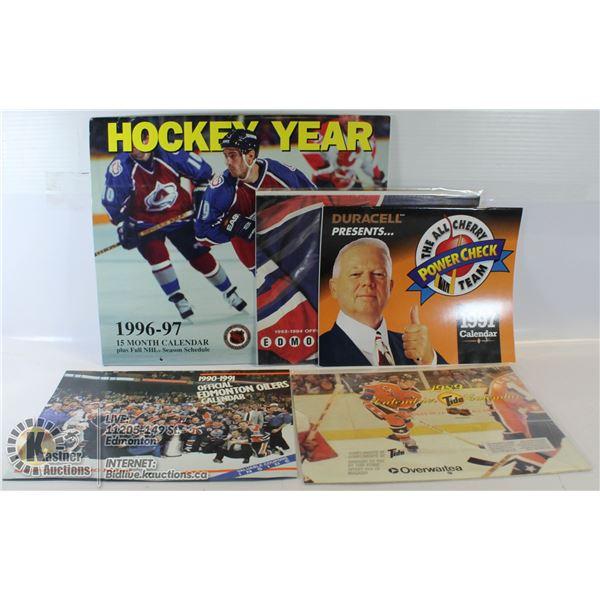 5 OLD NHL CALENDERS