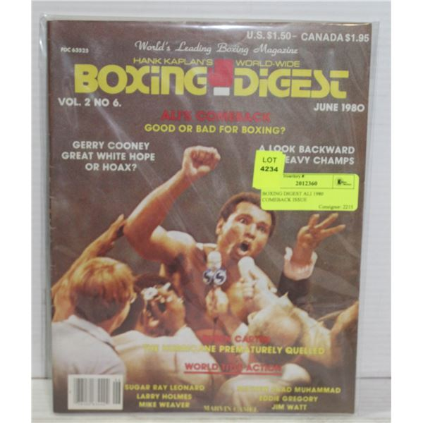 BOXING DIGEST ALI 1980 COMEBACK ISSUE