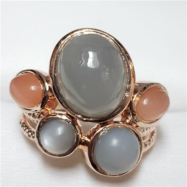 154) SILVER MOONSTONE 8CT RING, SIZE 7.5