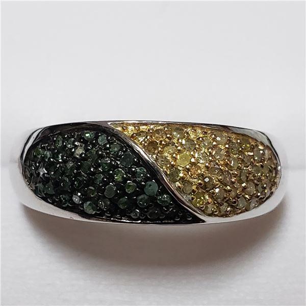 164) SILVER DIAMONDS(0.3CT) RING, SIZE 9