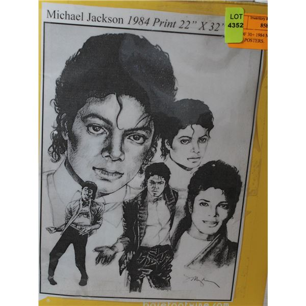 LOT OF 30+ 1984 MICHAEL JACKSON PRINT POSTERS.