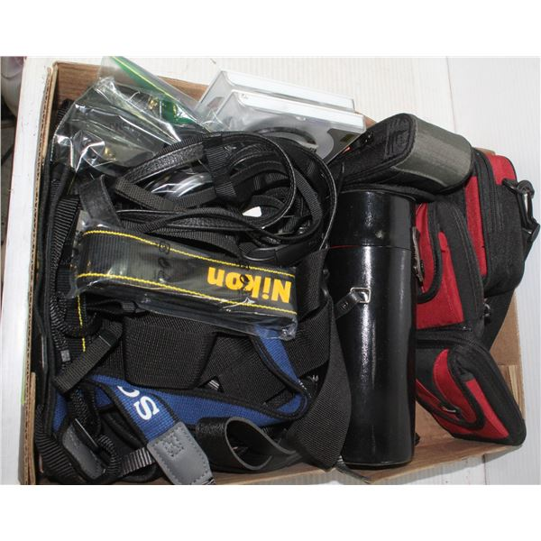 CAMERA BAGS, STRAPS, LENSE COVERS, MISC BOX LOT