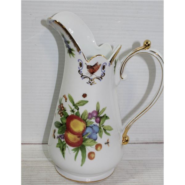 PORCELAIN BUTTERFLY WATER PITCHER WITH GOLD TRIM