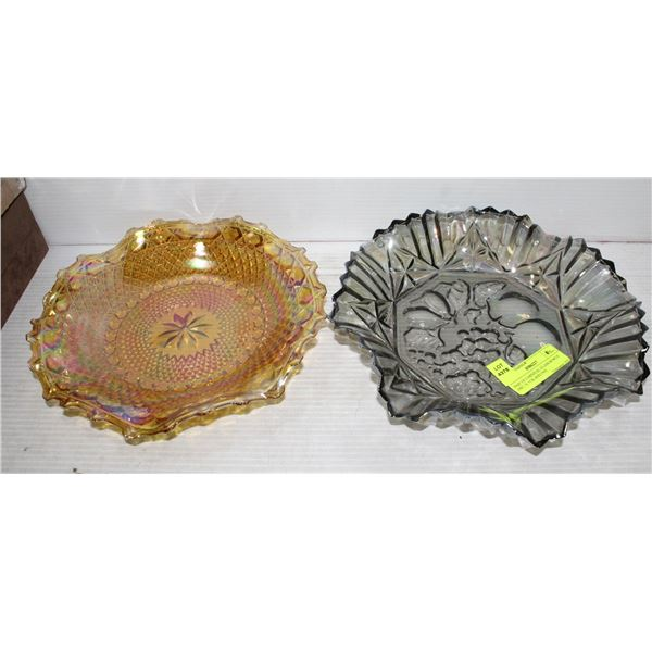 PAIR OF CARNIVAL GLASS BOWLS ONE BLACK AND ONE