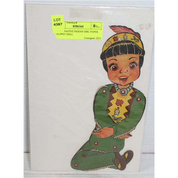 1940'S NATIVE INDIAN GIRL PAPER PUPPET DOLL