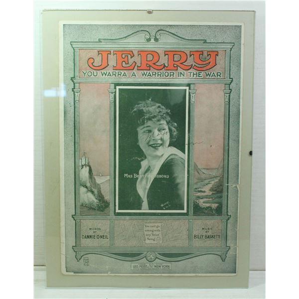 """ANTIQUE ORIGINALLY FRAMED """"JERRY YOU WARRA A"""