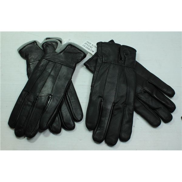 2 PAIRS NEW LADIES LEATHER GLOVES. BOTH LARGE.