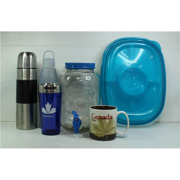 JUICE CONTAINER, CUP, COFFEE MUGS AND LUNCH TRAY