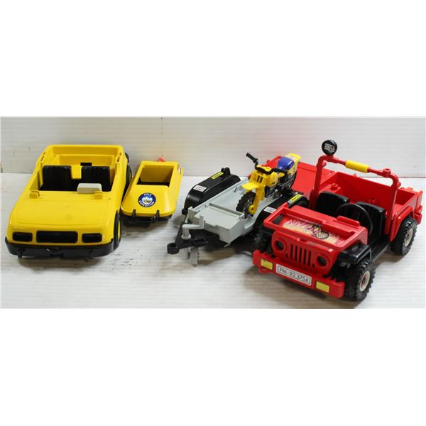 VINTAGE PLAYMOBIL CARS WITH TRAILERS