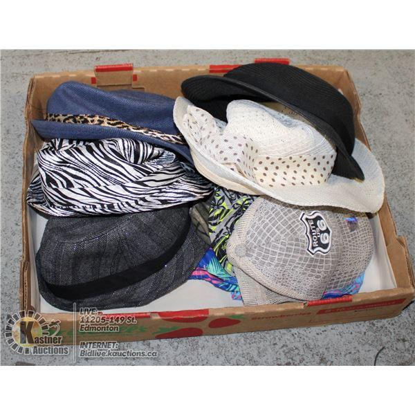 BOX WITH FASHION SUMMER HATS & BASEBALL CAPS