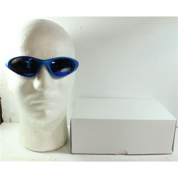 BOX OF OAKLEY STYLE BLUE SUNGLASSES.
