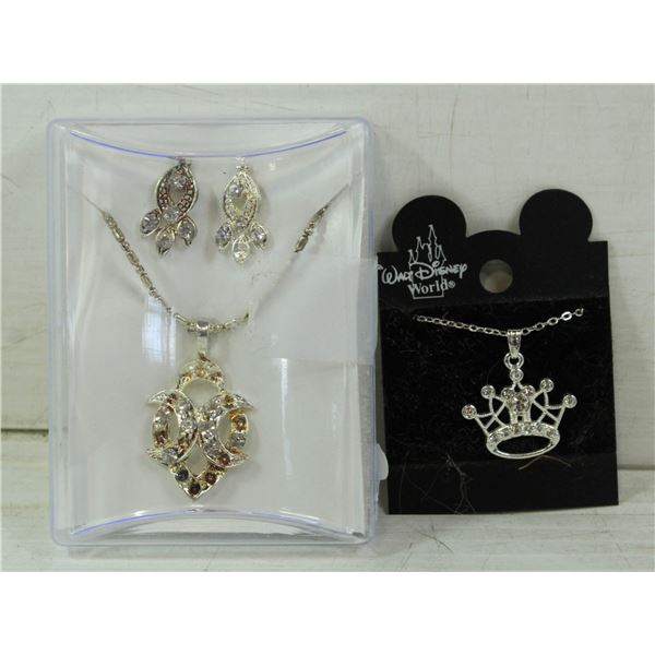 NECKLACE WITH A SET OF EARRINGS AND DISNEY