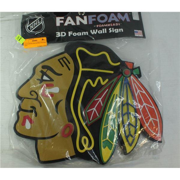 FAN FOAM BLACK HAWKS 3D FOAM SIGN