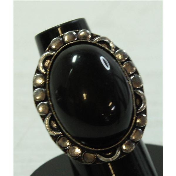 #123-NATURAL BLACK OBSIDIAN RING SIZE 5