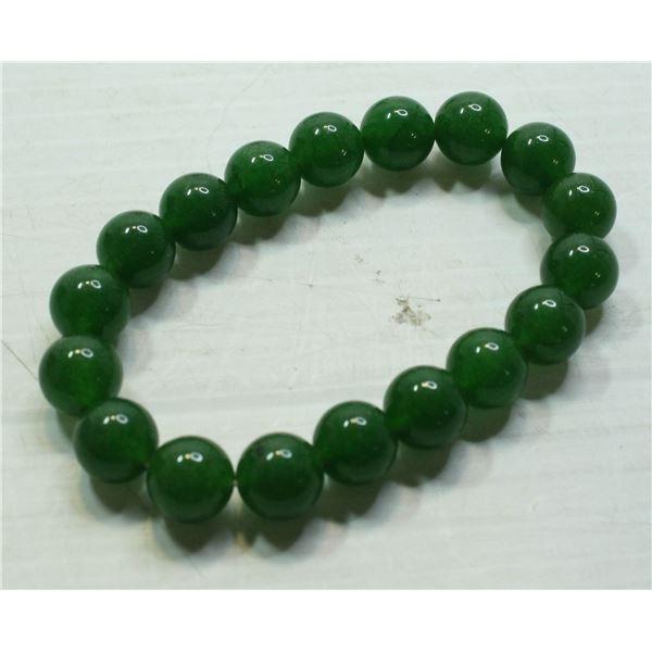 #36-GREEN JADE BEAD BRACELET 10mm