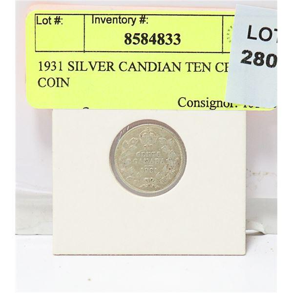 1931 SILVER CANDIAN TEN CENT COIN