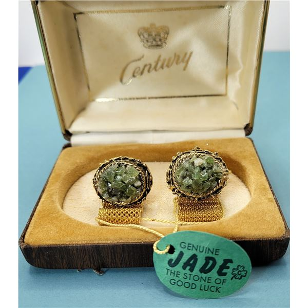10) VINTAGE CANADIAN JADE AND GOLD TONE