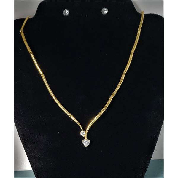 15) GOLD TONE NECKLACE WITH EARRINGS