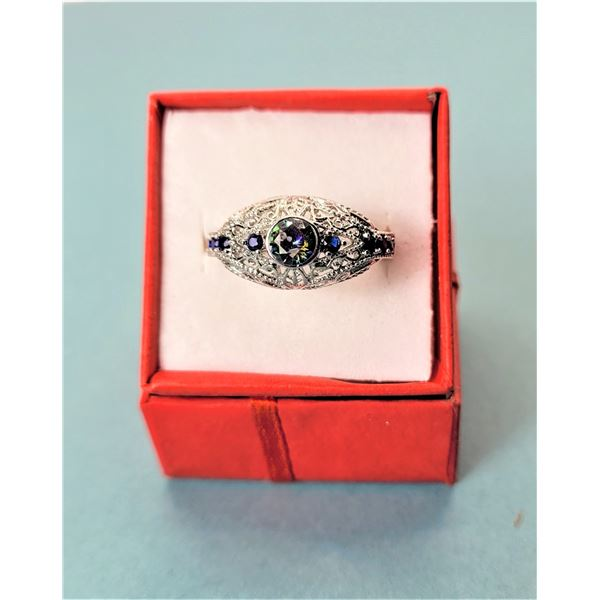 1) LAB-CREATED MYSTIC TOPAZ SIZE 8 RING